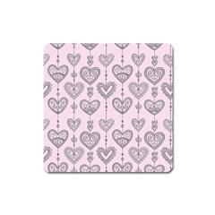 Sketches Ornamental Hearts Pattern Square Magnet