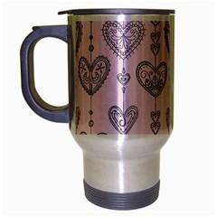 Sketches Ornamental Hearts Pattern Travel Mug (silver Gray)