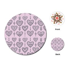 Sketches Ornamental Hearts Pattern Playing Cards (round)