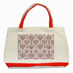Sketches Ornamental Hearts Pattern Classic Tote Bag (red)