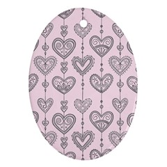 Sketches Ornamental Hearts Pattern Oval Ornament (two Sides)