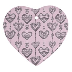 Sketches Ornamental Hearts Pattern Heart Ornament (2 Sides)