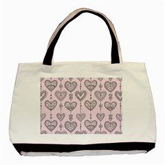 Sketches Ornamental Hearts Pattern Basic Tote Bag (two Sides)