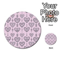 Sketches Ornamental Hearts Pattern Multi Purpose Cards (round)