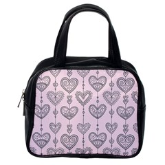 Sketches Ornamental Hearts Pattern Classic Handbags (one Side)