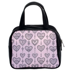 Sketches Ornamental Hearts Pattern Classic Handbags (2 Sides)