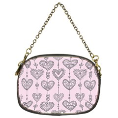 Sketches Ornamental Hearts Pattern Chain Purses (one Side)