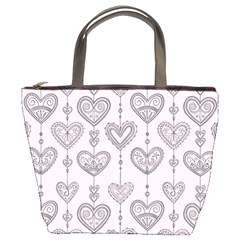 Sketches Ornamental Hearts Pattern Bucket Bags
