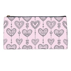 Sketches Ornamental Hearts Pattern Pencil Cases