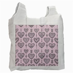 Sketches Ornamental Hearts Pattern Recycle Bag (one Side)