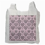 Sketches Ornamental Hearts Pattern Recycle Bag (Two Side)  Back
