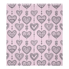 Sketches Ornamental Hearts Pattern Shower Curtain 66  X 72  (large)