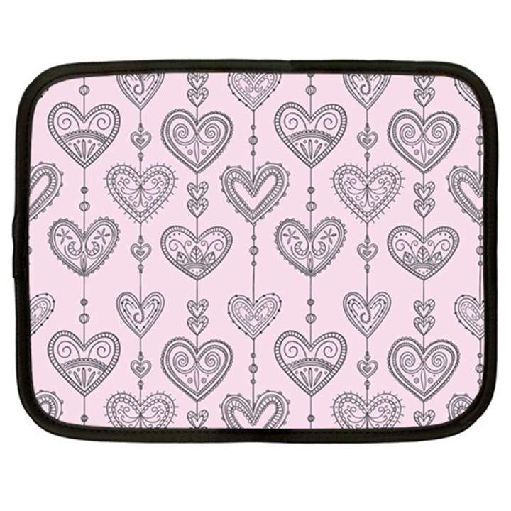 Sketches Ornamental Hearts Pattern Netbook Case (XL)