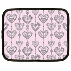 Sketches Ornamental Hearts Pattern Netbook Case (xxl)