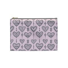 Sketches Ornamental Hearts Pattern Cosmetic Bag (medium)