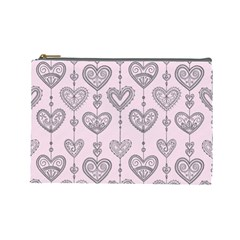 Sketches Ornamental Hearts Pattern Cosmetic Bag (large)
