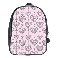 Sketches Ornamental Hearts Pattern School Bags(Large)