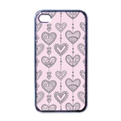 Sketches Ornamental Hearts Pattern Apple iPhone 4 Case (Black)