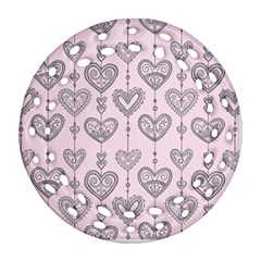 Sketches Ornamental Hearts Pattern Round Filigree Ornament (2side)