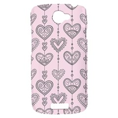 Sketches Ornamental Hearts Pattern HTC One S Hardshell Case