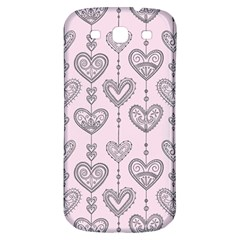 Sketches Ornamental Hearts Pattern Samsung Galaxy S3 S III Classic Hardshell Back Case