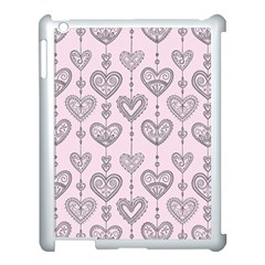 Sketches Ornamental Hearts Pattern Apple iPad 3/4 Case (White)