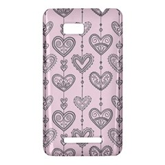 Sketches Ornamental Hearts Pattern HTC One SU T528W Hardshell Case