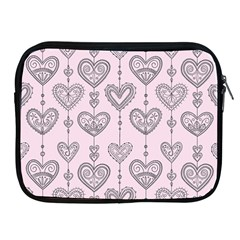 Sketches Ornamental Hearts Pattern Apple iPad 2/3/4 Zipper Cases
