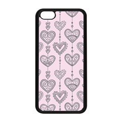 Sketches Ornamental Hearts Pattern Apple iPhone 5C Seamless Case (Black)