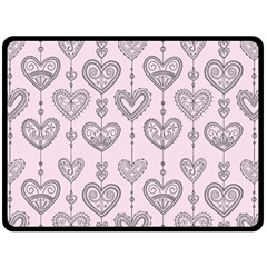 Sketches Ornamental Hearts Pattern Double Sided Fleece Blanket (Large)