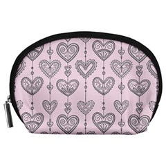 Sketches Ornamental Hearts Pattern Accessory Pouches (Large)