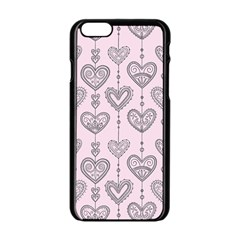 Sketches Ornamental Hearts Pattern Apple iPhone 6/6S Black Enamel Case