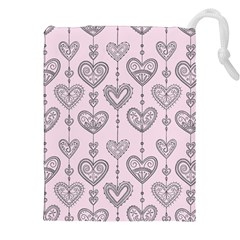 Sketches Ornamental Hearts Pattern Drawstring Pouches (xxl)