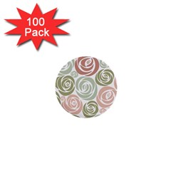 Retro Elegant Floral Pattern 1  Mini Buttons (100 pack)