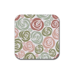 Retro Elegant Floral Pattern Rubber Square Coaster (4 Pack)