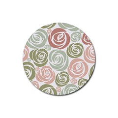 Retro Elegant Floral Pattern Rubber Round Coaster (4 Pack)