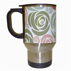 Retro Elegant Floral Pattern Travel Mugs (white)