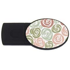 Retro Elegant Floral Pattern Usb Flash Drive Oval (4 Gb)
