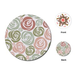 Retro Elegant Floral Pattern Playing Cards (round)