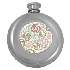 Retro Elegant Floral Pattern Round Hip Flask (5 Oz)