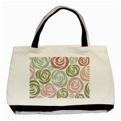 Retro Elegant Floral Pattern Basic Tote Bag (two Sides)
