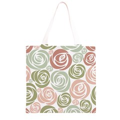 Retro Elegant Floral Pattern Grocery Light Tote Bag