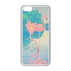 Two Pink Flamingos Pop Art Apple Iphone 5c Seamless Case (white)