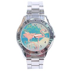 Two Pink Flamingos Pop Art Stainless Steel Analogue Watch