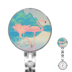 Two Pink Flamingos Pop Art Stainless Steel Nurses Watch