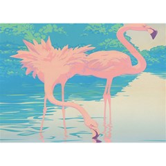 Two Pink Flamingos Pop Art Birthday Cake 3D Greeting Card (7x5)