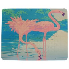 Two Pink Flamingos Pop Art Jigsaw Puzzle Photo Stand (Rectangular)