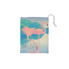Two Pink Flamingos Pop Art Drawstring Pouches (XS)