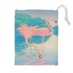 Two Pink Flamingos Pop Art Drawstring Pouches (extra Large)
