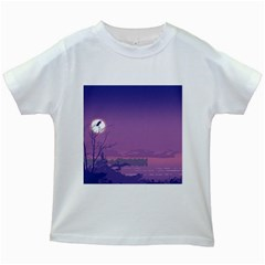 Abstract Tropical Birds Purple Sunset  Kids White T Shirts